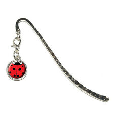 Lady Bug - Insect Ladybug - Metal Bookmark Page Marker with Charm
