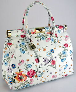 Genuine leather woman handbag tote shoulder hobo bag.Made in Italy.WHITE FLOWERS
