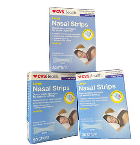 3 Boxes. CVS Health LARGE Nasal Strips CLEAR, Total 90 Strips