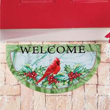 """Christmas Cardinal """"Welcome"""" Indoor/Outdoor Slice Door Mat"""