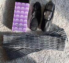 NEW Black Leather Split Sole Ballet Shoes Women's Sz 10 Plus Leg Warmers & Box