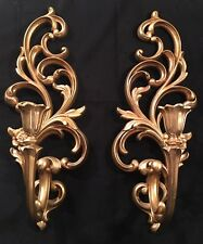 VINTAGE Pair Syroco Gold Color Hollywood Regency WAll Sconce Candle Holders