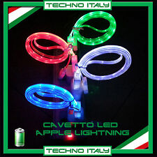 CAVO CAVETTO USB LED LUMINOSO COLORATO LIGHTNING IPHONE 5 5S 6 PLUS  IPOD IPAD