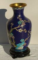 """Vintage Chinese Cloisonne Vase w/ wood stand Blue Pink Cherry Blossoms Bird 7"""""""