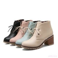 Korean Cute Lolita Lady Shoe Lace Up Ankle Boots Low Block Heel Round Toe Casual