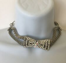 Glass Bead Chunky Runway Necklaces 1970's-80's Silver/Gold Tone Chain Rhinestone