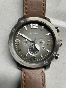 fossil chronograph watch men leather