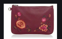 NEW Thirty-One Rubie Mini Wallet wristlet Deep MERLOT EMBROIDERED Travel Pouch