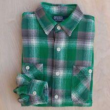 POLO Ralph Lauren green gray plaid flannel utility work chore shirt Size M