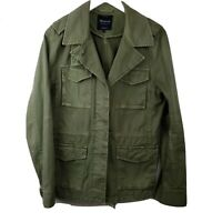 Madewell Womens Olive Green Cotton Finely Crafted Field Military Jacket Sz Large