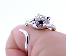 Silver tone crystal curling cat ring ring, UK Size Q