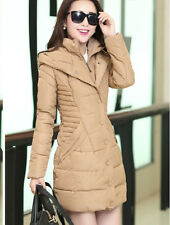 New Women's Slim Long padded jacket Ladies Cotton Coats Parka hooded overcoat