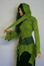 GOTICO medioevo a punta maglia giacca maglione con cappuccio top verde oliva S M