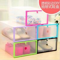 Plastic Clear Shoe Storage Transparent Boxes Stackable Container Organizer Holde