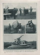 1916 WWI photo-print. Observation post near Paris & Belgian observation Balloon
