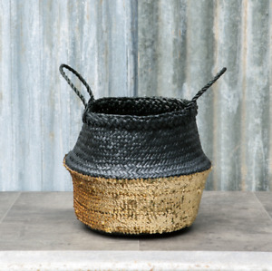 Gold & Black Small Sequin Belly Basket Seagrass Planter Toy Laundry Basket