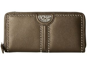 NWT Brighton PRETTY TOUGH Large Zip Wallet PEWTER Leather Studded MSRP $150
