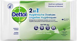 Dettol - Gel 2 en 1 Lingettes Hygiéniques - 12 lots de 12 Lingettes