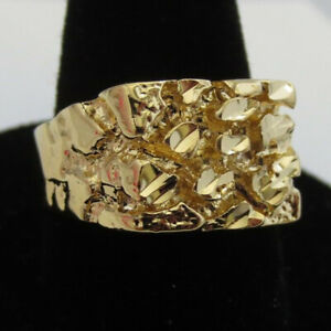 Unique Men 14K Gold Plated Ring Designer Wedding Rings Jewelry Gift Size 7-13