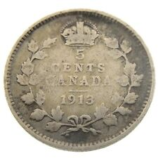 1913 Canada 5 Cents Small Silver Circulated George V Five Cents Coin P445