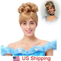Princess Cinderella Wigs Women Cosplay Halloween Party Short Curly Blonde Hair