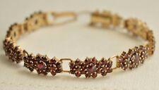 Antique German Gold Plated SILVER 900 Bohemian GARNET Signed Bracelet Stunning