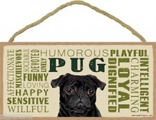"BLACK PUG Subway Style Wood Dog Indoor Sign 10""x 5""  Made in USA black puppy NEW"