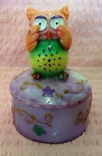 """Cute Owl """"See No Evil"""" Decorative Trinket Dish, Pill Box, Pin Box w/ Lid"""