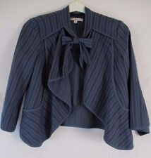 CAbi Womens S Blue Stripe Cascading Open Front Pussy Bow Style 870 Jacket CB50B