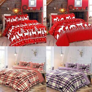 Winters & Christmas Print Duvet Quilt Cover Bedding Set & Pillowcases All Sizes