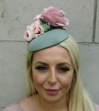 Sage Green Blush Pink Light Dusky Pink Flower Floral Hat Hair Fascinator 0682