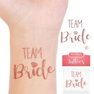 12 Team Bride Temporary Tattoos   Hen Party Night Do Bride To Be Rose Gold Tatto