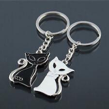2pcs Kawaii Black & White Cat Kitten Metal Keyring Creative Key Holder Useful