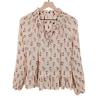 Rebecca Taylor Peasant Top Blouse Peach Floral Silk Long Sleeves Boho Size 8