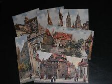 SET OF SIX CHARLES FLOWER SIGNED TUCK POSTCARDS - NURNBERG - OILETTE No.611B.