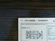 1974 Dodge & Plymouth EIGHT Series Models 318 CI V8 2BBL Tune Up Chart