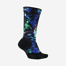 NIKE ELITE Cushioned Crew Running Socks SX6093-901 (6-7.5) Black / Multi