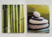 2er Set Bilder Stein Zen - Garten Bambus Feng Shui Bild