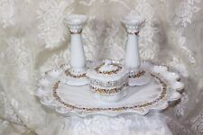 Vintage Porcelain 4 Piece Vanity Dresser Set Flowers, Large Scalloped Tray
