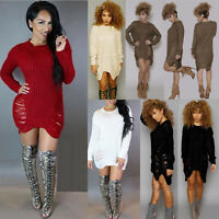 Women Long Sleeve Knitted Sweater Oversized Ladies Jumper Winter Dress Size 6-14