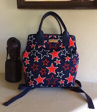 Tommy Hilfiger Aurora Star Print/Tommy Navy Canvas Backpack NWT MSRP 99$