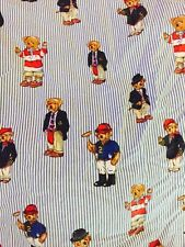 Ralph Lauren Polo Fitted Sheet Striped Twin Size Bears Teddy Bear Fabric Cutter