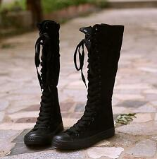 Womens Ladies Canvas Gladiator Lace Up Platform Knee High Boots Sneakers Shoes