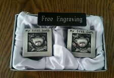 Free Engraving (Personalized) Pewter Tooth and Curl Box Set with Bear Baby Gift