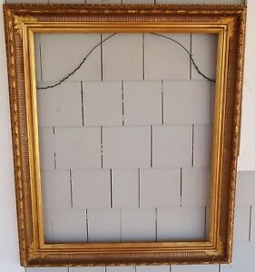 Antique NEWCOMB MACKLIN Gold FRAME, Fluted 22 x 27 - SIGNED Arrow LEAVES BERRIES