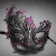 Swan Laser Cut Venetian Eye Masquerade Costume Women Party Mask Black Purple