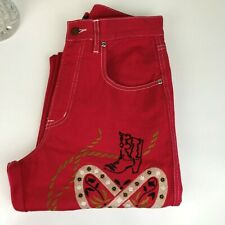 JAG JEANS Red Embroidery  - PRELOVED - Size 10