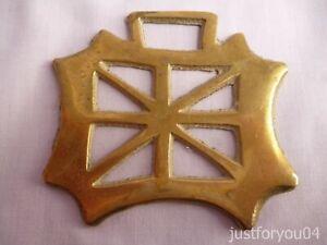 Solid Vintage Horse Brass - British Flag Design