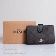 NWT Coach F23553 Medium Corner Zip Wallet Signature PVC Brown Black