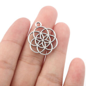 20Pcs Antique Silver Flower of Life Yoga Charms Pendants for Jewelry Making 20mm
